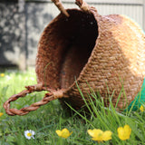 Seagrass Straw Baskets - EMERALD GREEN