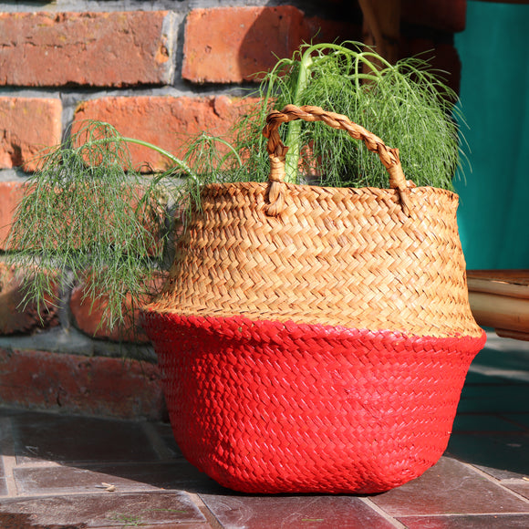 Seagrass Straw Baskets - RED