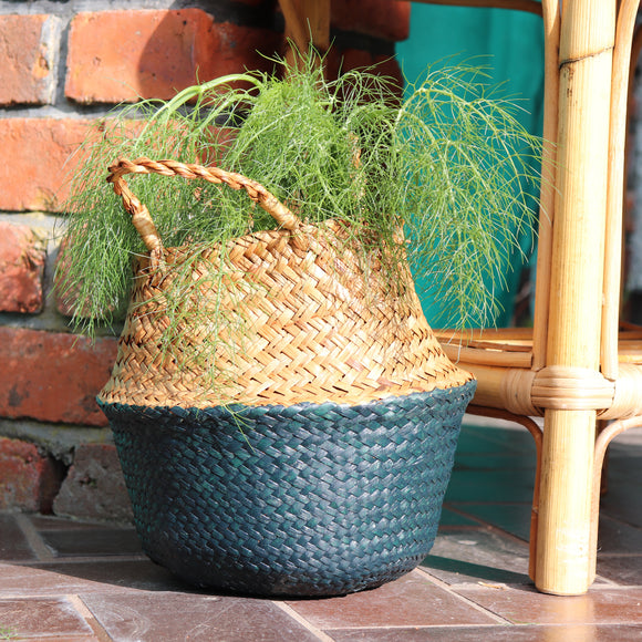 Seagrass Straw Baskets - DARK GREEN
