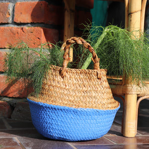 Seagrass Straw Baskets - COBALT