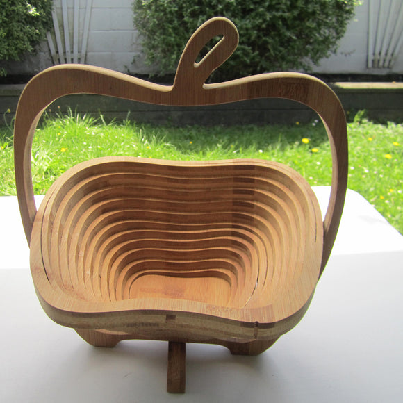 Apple Cut Extendable Bamboo Fruit Basket