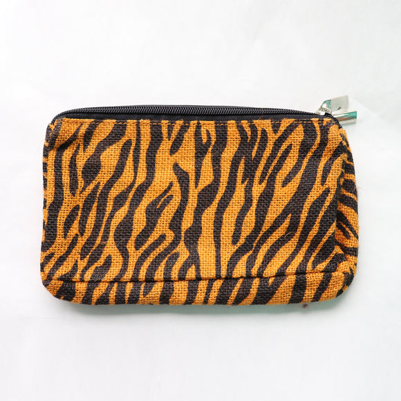 Jute Double zip (small) Pouch Yellow - Blk Stripes