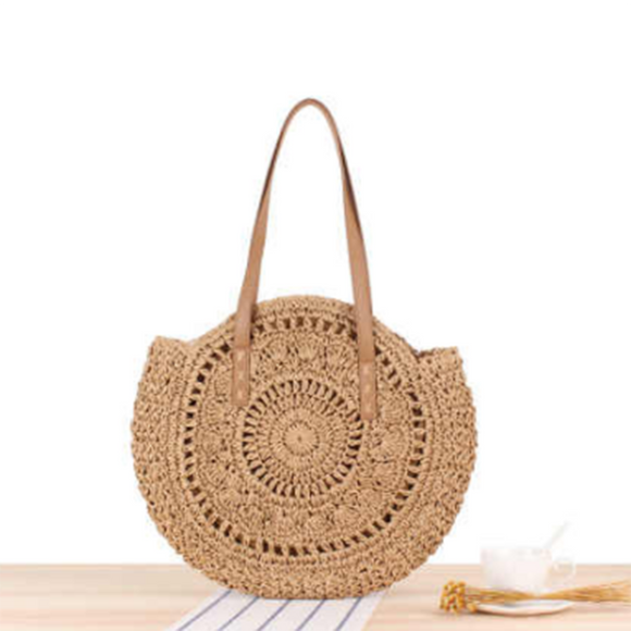 Handmade Round Women Straw/Rattan Shoulder Bag - (Brown 1)