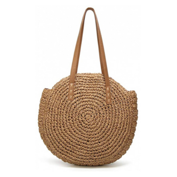 Handmade Round Women Straw/Rattan Shoulder Bag - (Brown 2)