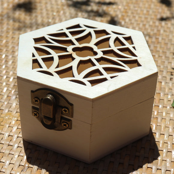 Hexagon Classic Floral Cup Wooden Gift Box