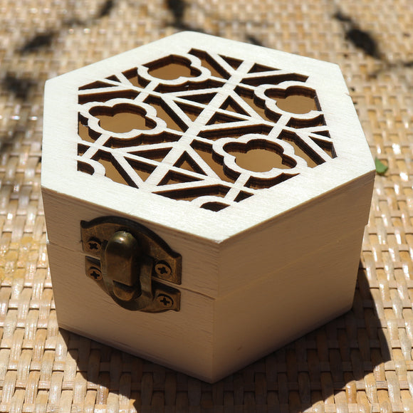 Hexagon Classic Floral Grill Wooden Gift Box