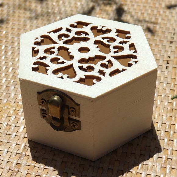Hexagon Classic Wavy Wooden Gift Box