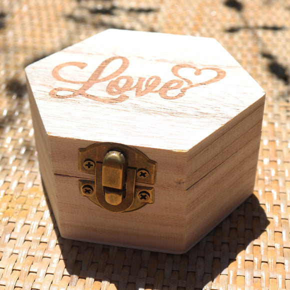 Hexagon Rosewood Finish Love Wooden Gift Box