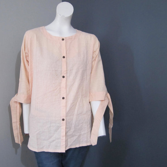 Women Cotton Light Peach Striped Top