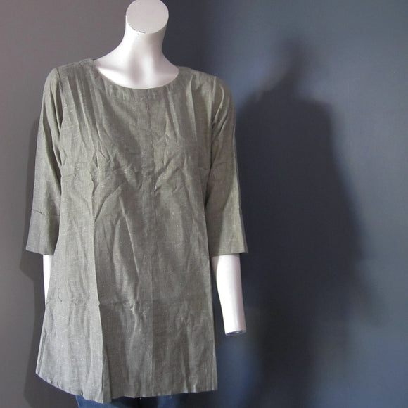Women Cotton Murky Green Integrated Stripes With Back Button Top