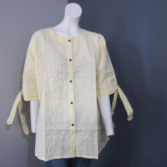 Women Cotton Yellow Striped Top