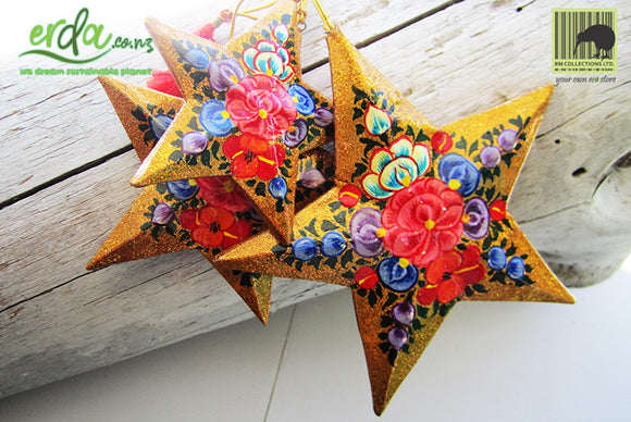 Paper Mache Star - Gold (Red flowers)