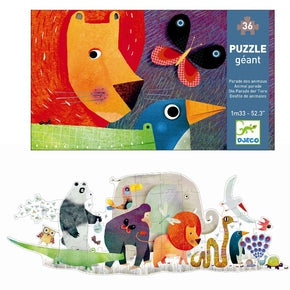 Puslespil fra Djeco - DJ07171 - Giant Puzzle, Animal Parade.