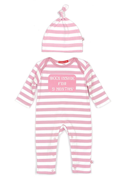 ORGANIC BEEN INSIDE FOR 9 MONTHS PLAYSUIT, HAT & BAG GIFT SET