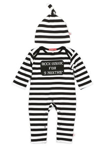 ORGANIC BEEN INSIDE FOR 9 MONTHS LONG SLEEVE PLAYSUIT, HAT & BAG GIFT SET
