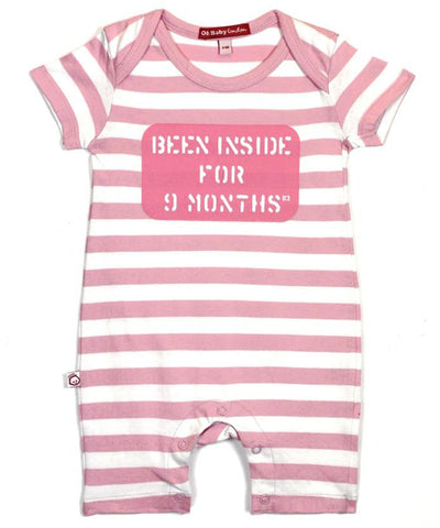ORGANIC SHORT SLEEVED PINK BEEN INSIDE PLAYSUIT
