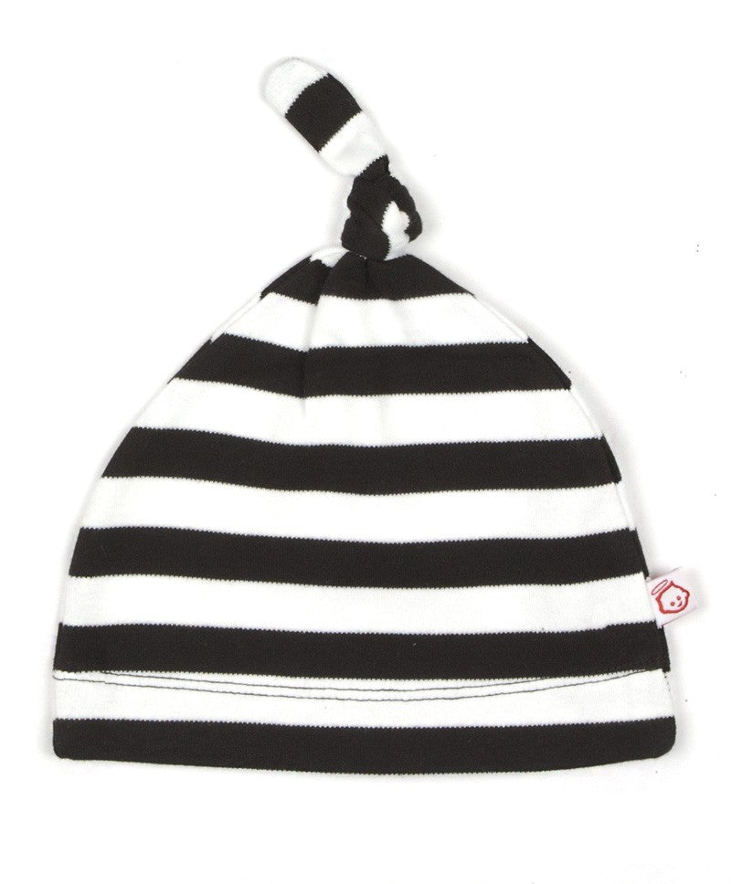 ORGANIC BLACK AND WHITE BABY STRIPY KNOT HAT