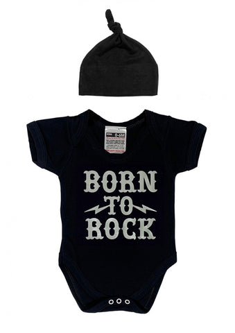 BORN TO ROCK BABYGROW & BLACK HAT SET