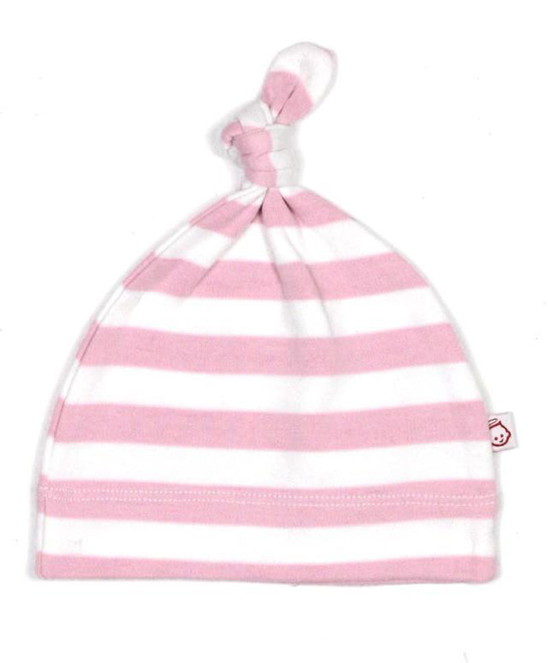 PINK AND WHITE BABY STRIPY KNOT HAT