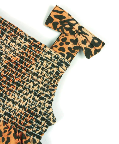 ORGANIC SMOCKED LEOPARD PRINT PLAYSUIT