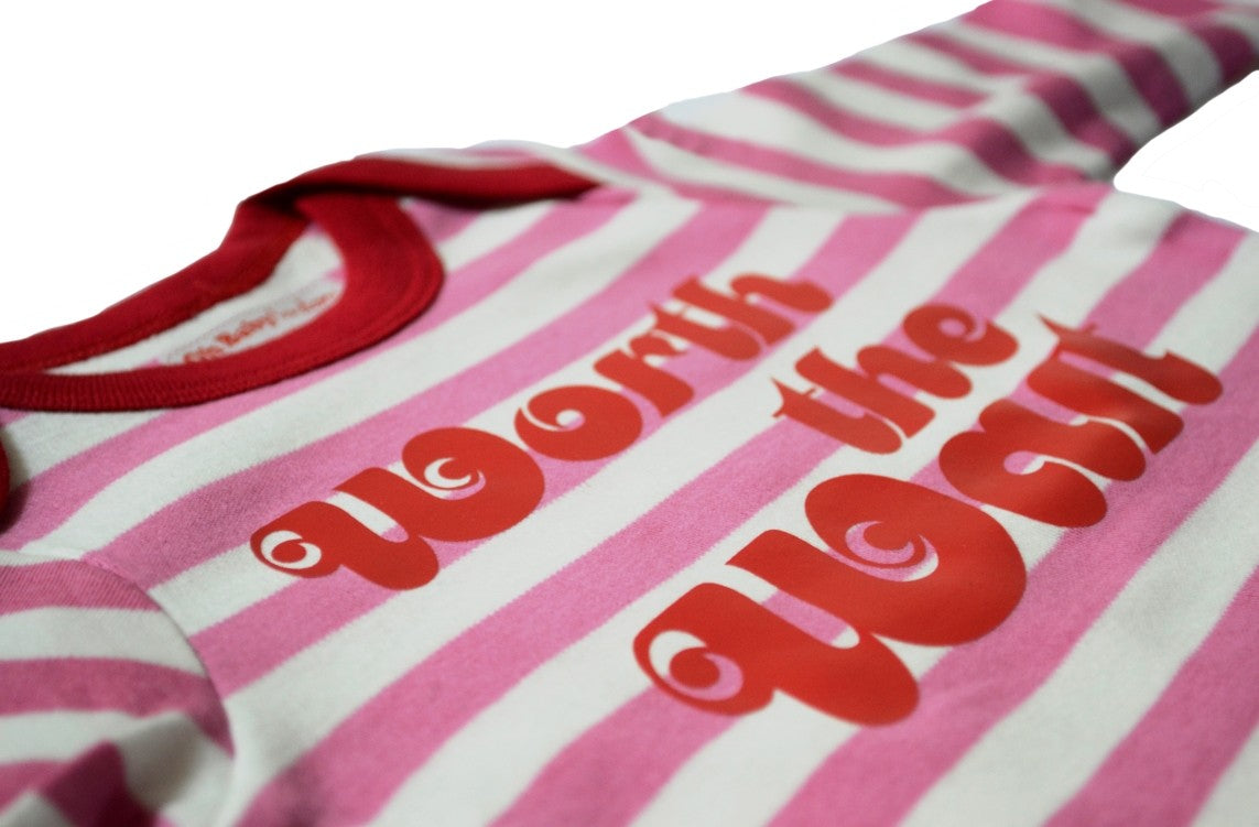 """WORTH THE WAIT"" LONG SLEEVE PINK & WHITE STRIPE T-SHIRT"