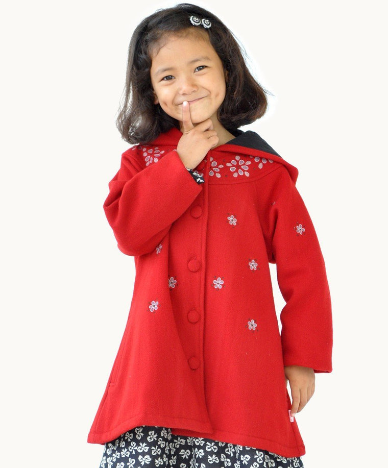 Red Embroidered Wool Coat