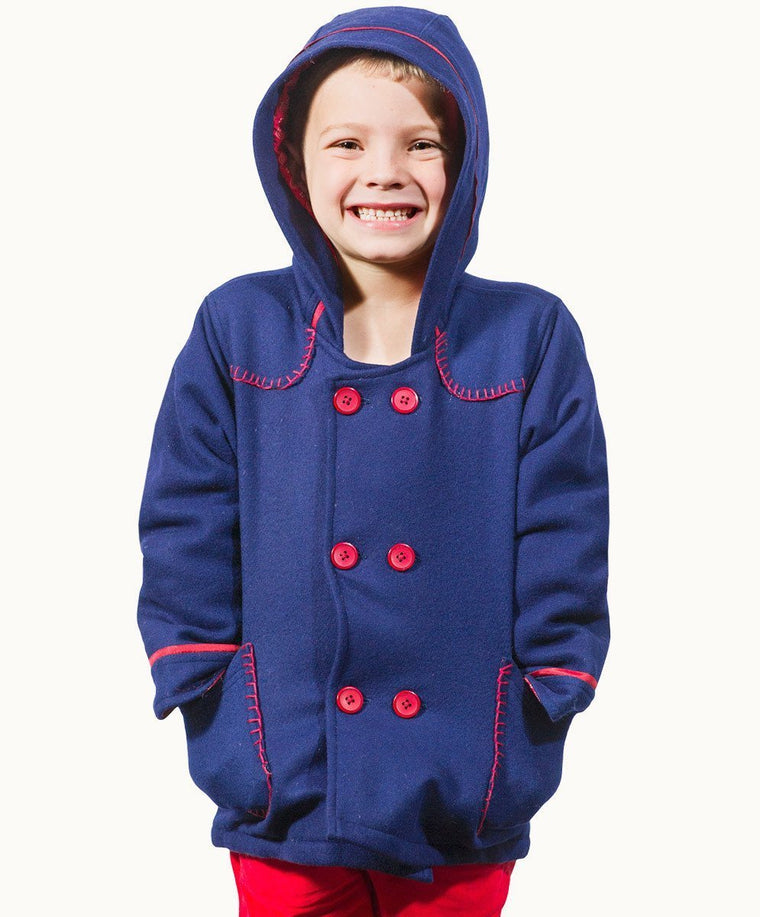 Navy Blanket Stitch Toddler Wool Coat
