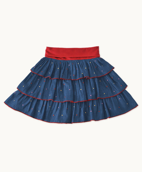 Embroidered Denim Party Time Skirt
