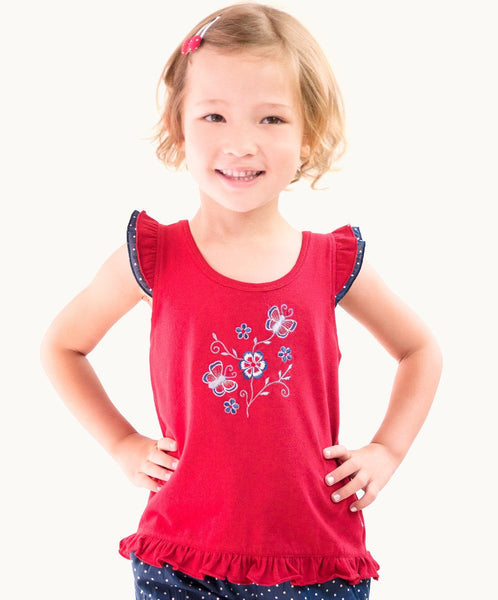 Fabulous Red Ruffle Butterfly Toddler Tee