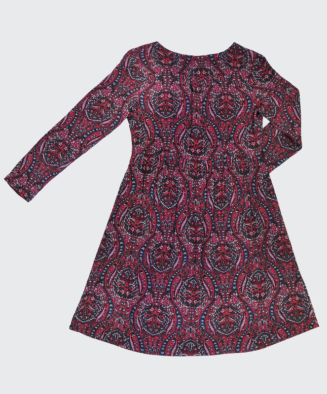 Raspberry Paisley Tea Dress