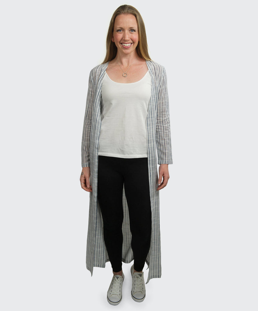 Pema Blue Stripe Shawl Cardigan