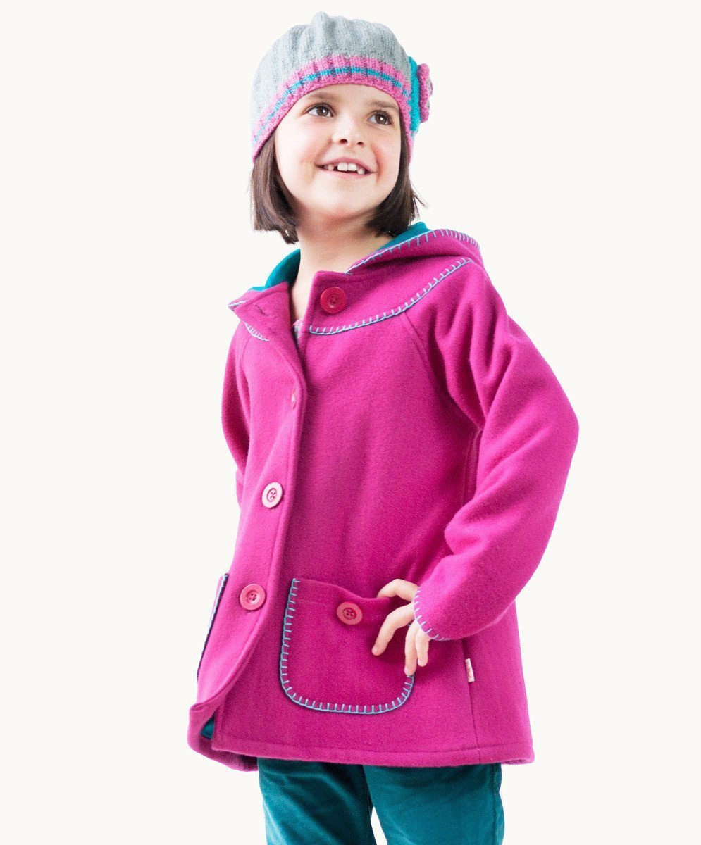Hot Pink Blanket Stitch Wool Coat