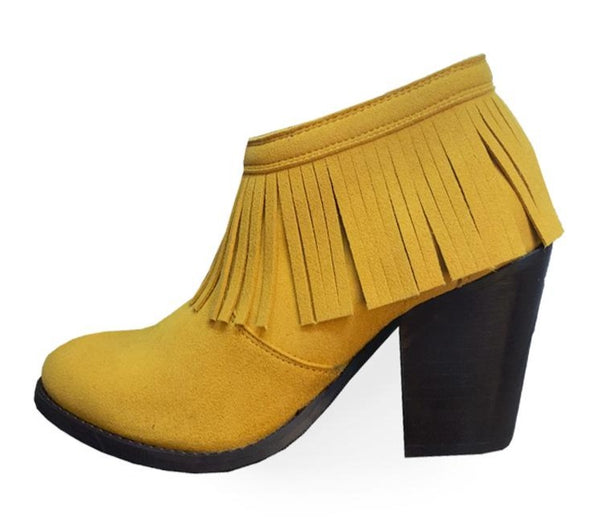 2 IN 1 FRINGE BOOTS MUSTARD