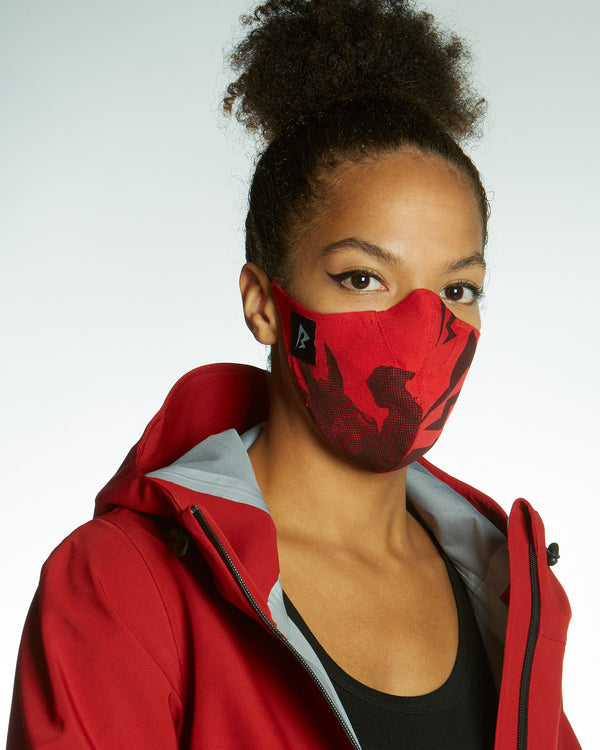 red hand printed face mask with HEPA-filter protection, comfortable fit avoiding ears made from 3 layers cotton.