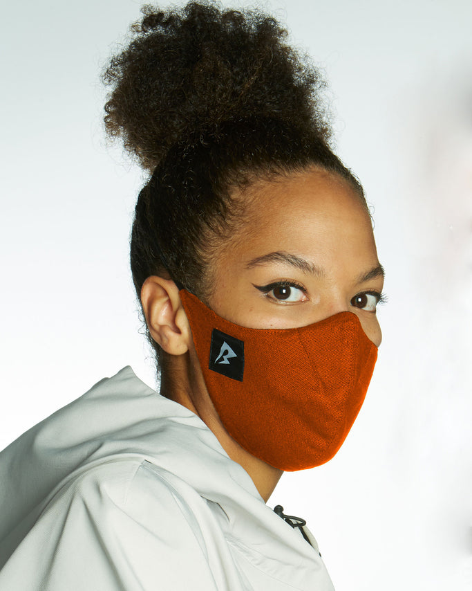 rust face mask with HEPA filter protection, comfortable fit avoiding ears and made from sustainable eco cotton.