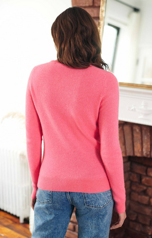 Cashmere Heart Crewneck - Pink Tulip/Red