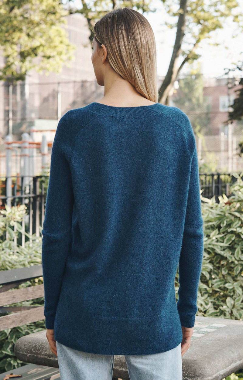 Cashmere V Neck Tunic In Deep Teal Heather