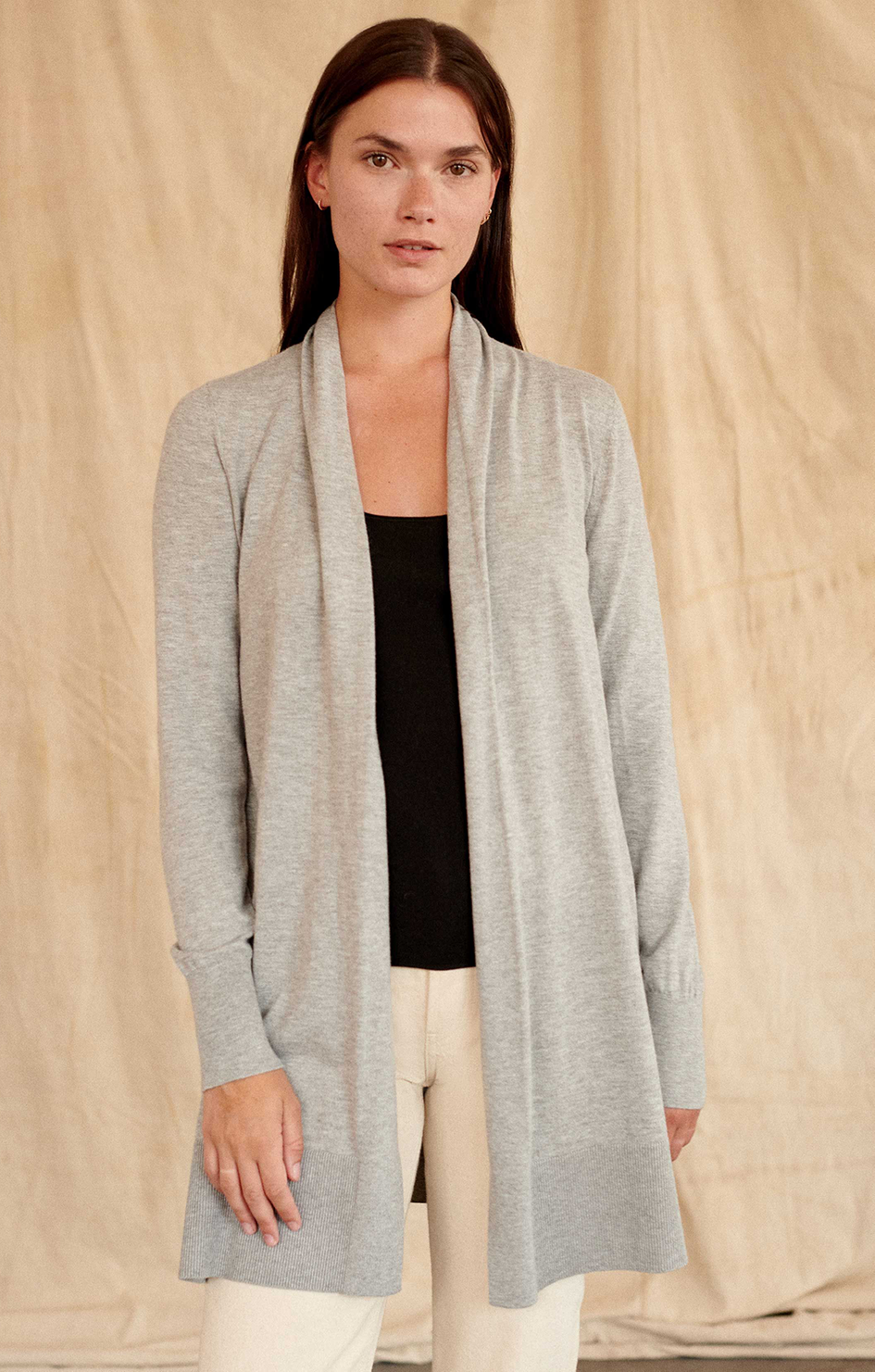 White & Warren Cardigan Cool Grey