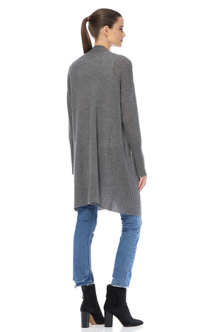 Alva Cashmere Cardigan - Mid Heather Grey