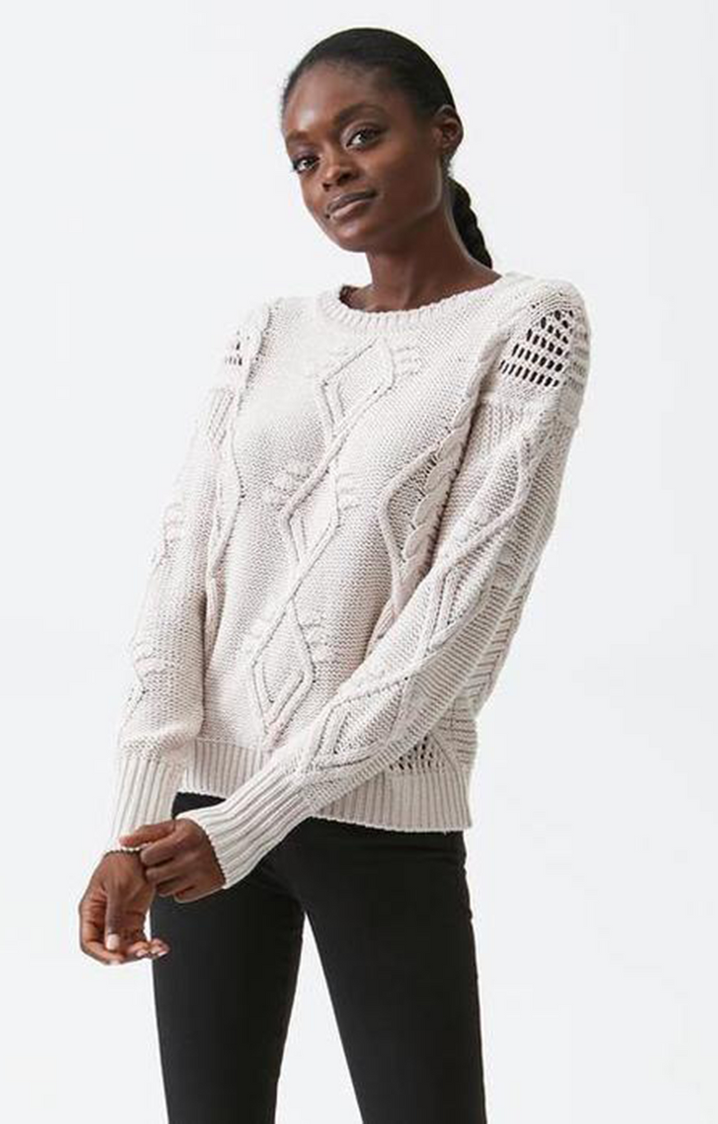 Aileen Cable Sweater - Stucco - Michael Stars