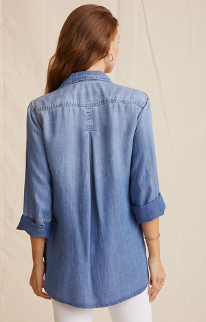 Bella Dahl Shirt Tail Button Down - Medium Ombre Wash