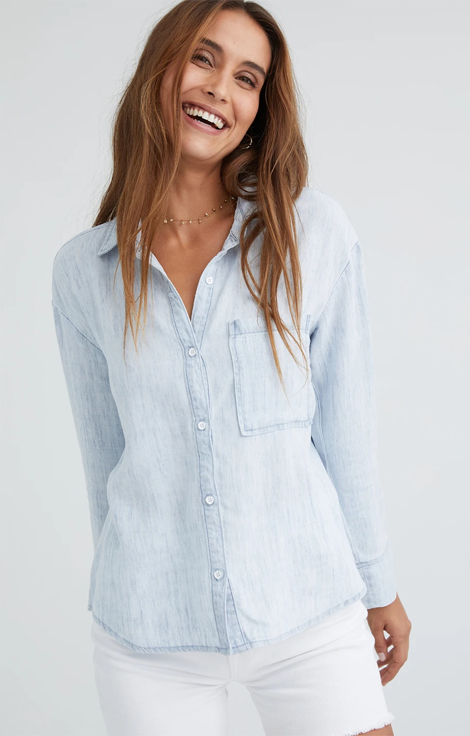 Pleat Back Pocket Shirt - Skywash