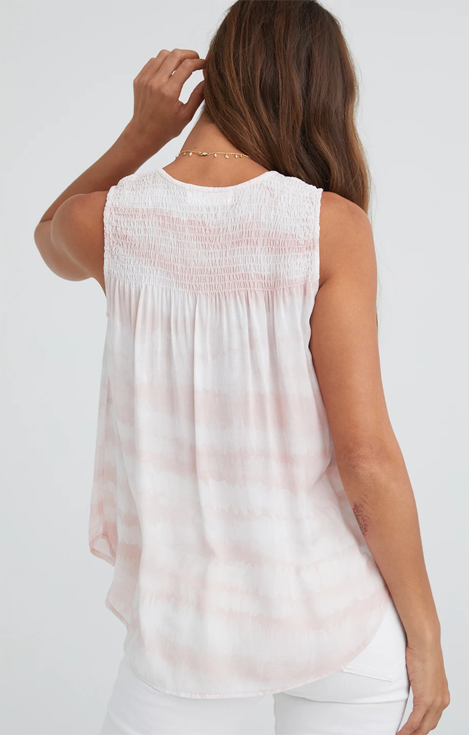V Neck Smocked Top - Rosewater Print