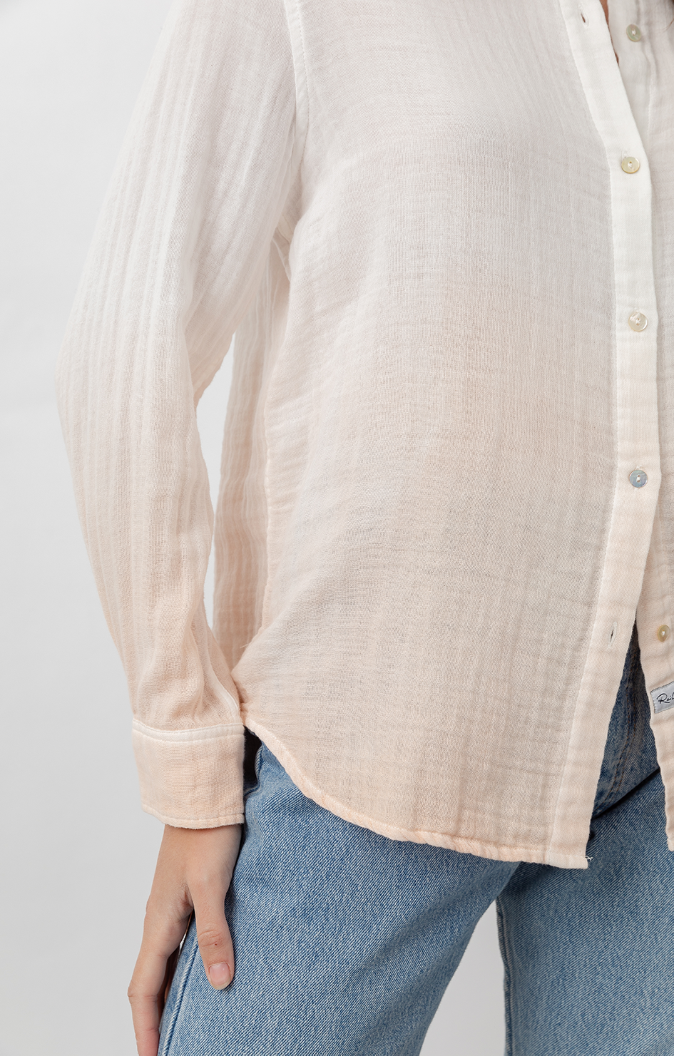 Ellis Shirt - White Blush Dip Dye