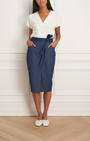 Denim Pencil Skirt - Indigo