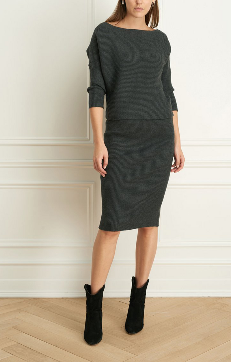 Iris Setlakwe wool blend boat neck dress charcoal