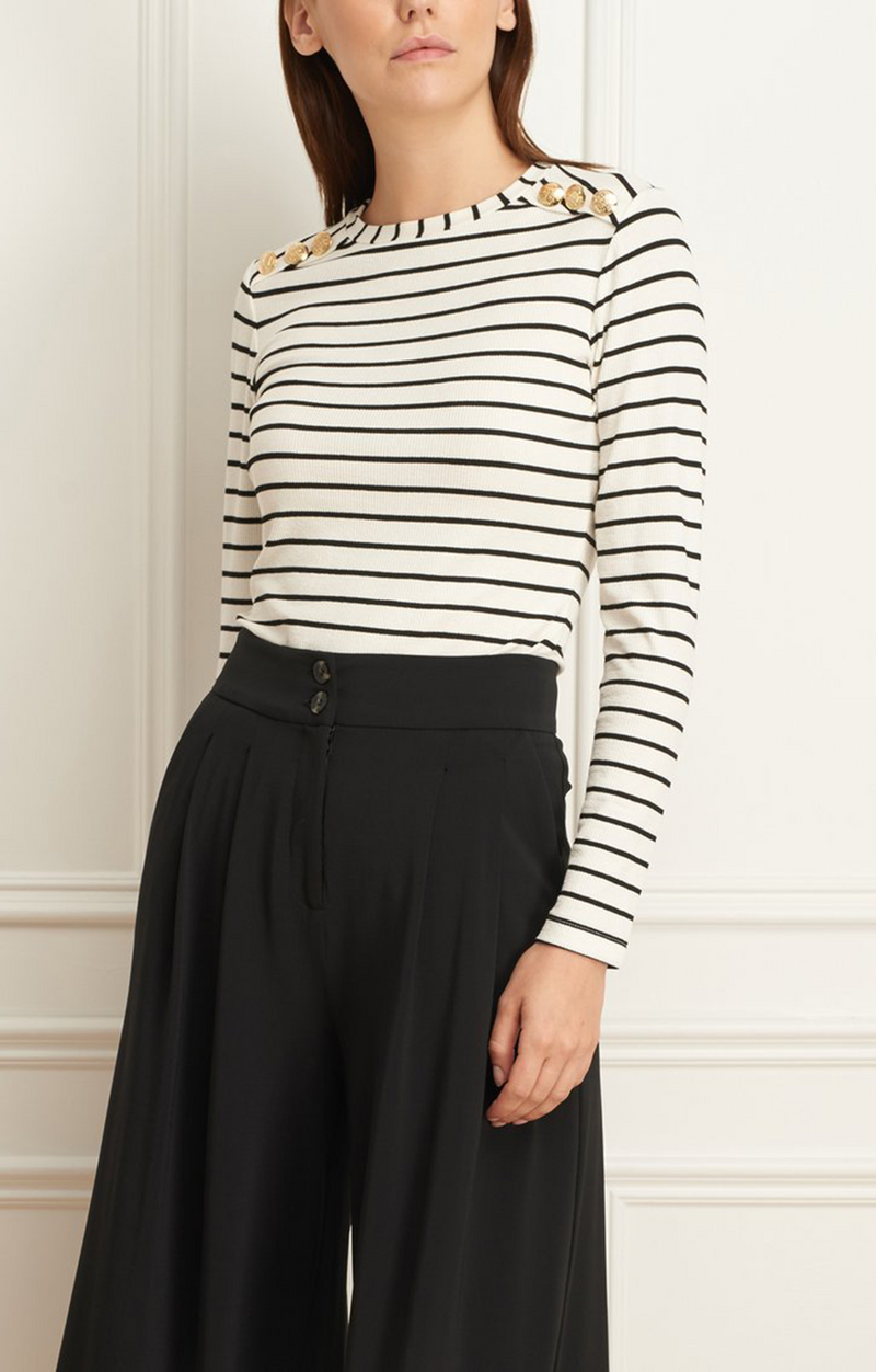 Iris Setlakwe Striped Crew Neck with Button Detail