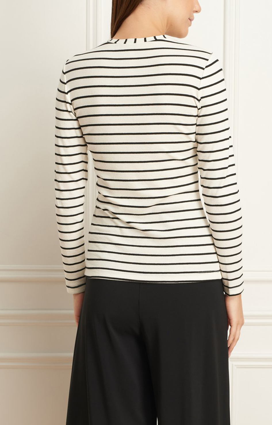 Striped Crew Neck Top - Ivory