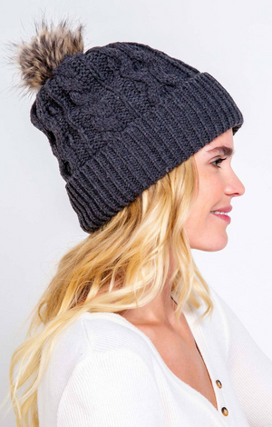 Cable Knit Beanie - Black