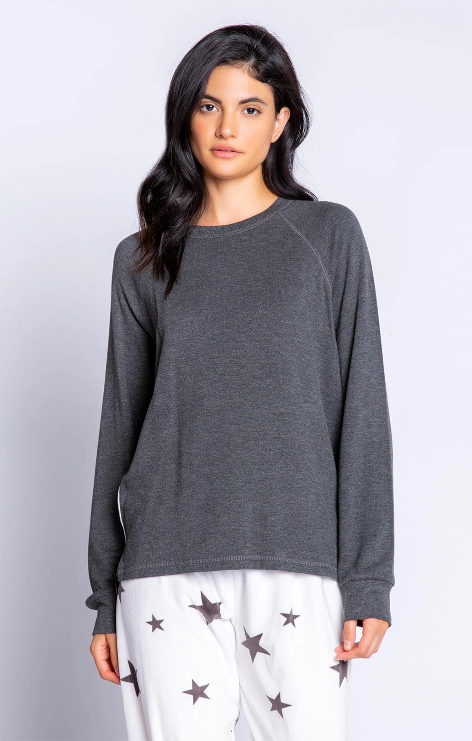 Wishin' On A Star Solid L/S Top - Heather Charcoal